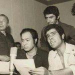 حسین عرفانی در کنار بهروز وثوقی ٬ فرامرز قریبیان و مسعود کیمیایی در پشت صحنه دوبله فیلم گوزنها