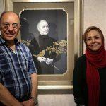 مریم معترف و ژرژ پطرسى در گشایش نمایشگاه «افق بیکران» (منبع: اینستاگرام)